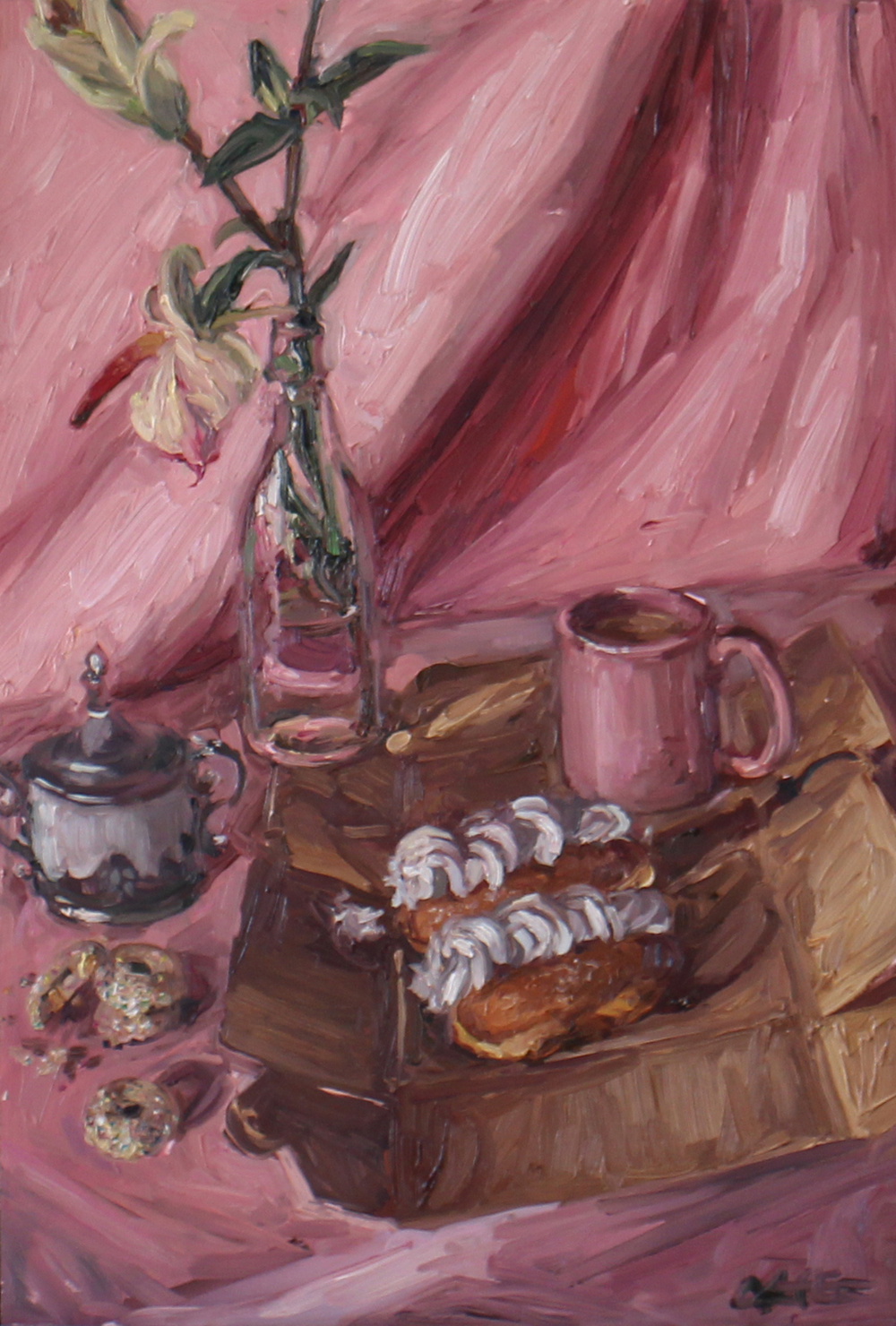 Alice Toich  'Thank god for Monday teatime'  Oil on board  54.5 x 36 cm