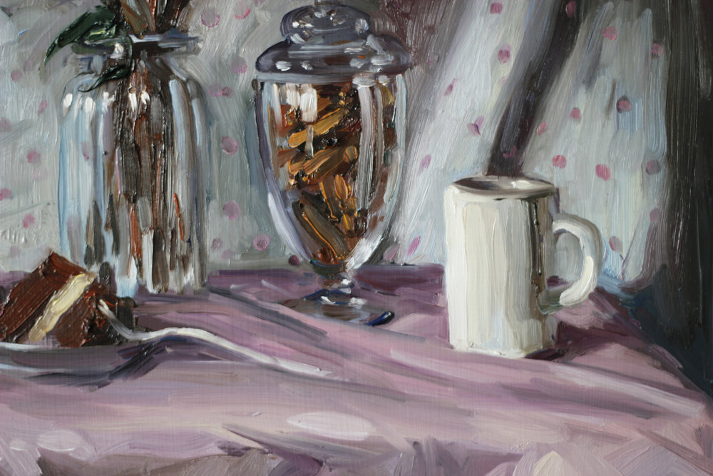 Detail from 'Eating cake alone' by Alice Toich.