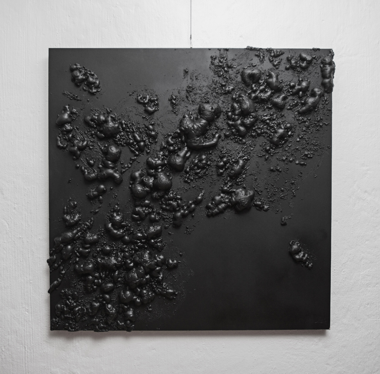 Louis Minaar  Composition in Black XL 2  Wood, polyurethane, paint  120 x 120 cm