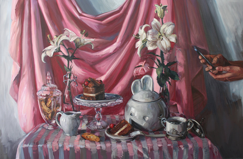 Alice Toich  'Bunny Vanitas'  Oil on canvas  100 x 150 cm