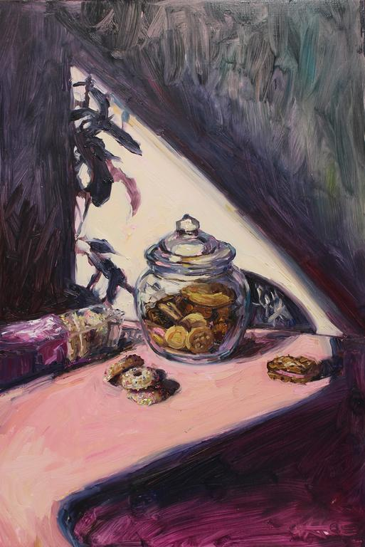 Alice Toich  'The cookie jar, half full'  Oil on board  54.5 x 36 cm