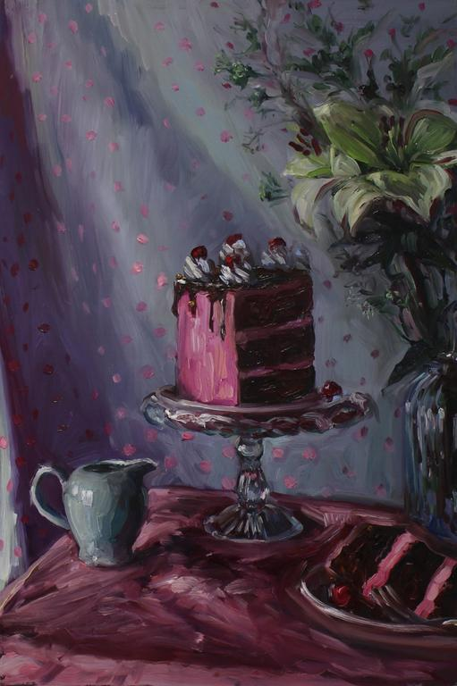 Alice Toich  'Kuier with cake'  Oil on board  54.5 x 36 cm