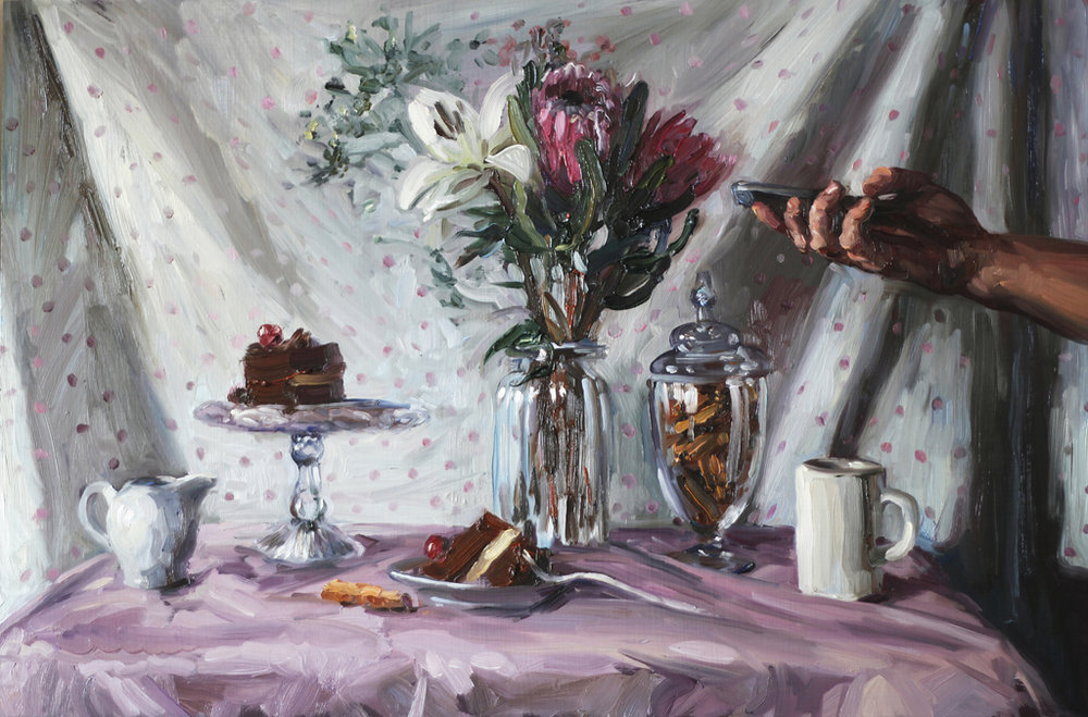 Alice Toich  'Eating cake alone'  Oil on board  36 x 54.5 cm