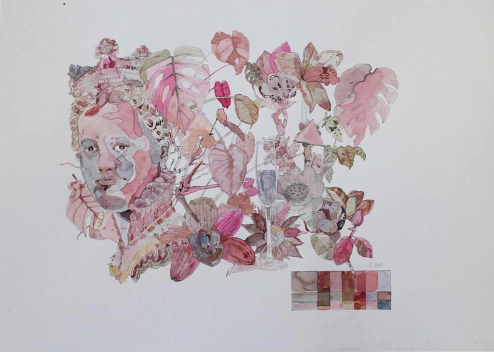Isabella Kuijers  Isabella Kuijers  Ritual sacrifice kept the suburbs green and pink.  Mixed media on paper