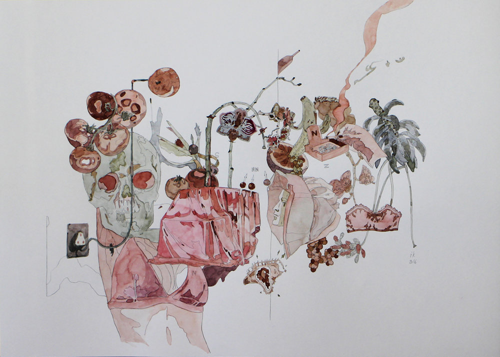 Isabella Kuijers  The MRI revealed nothing because her body was made of lead.  Mixed media on paper