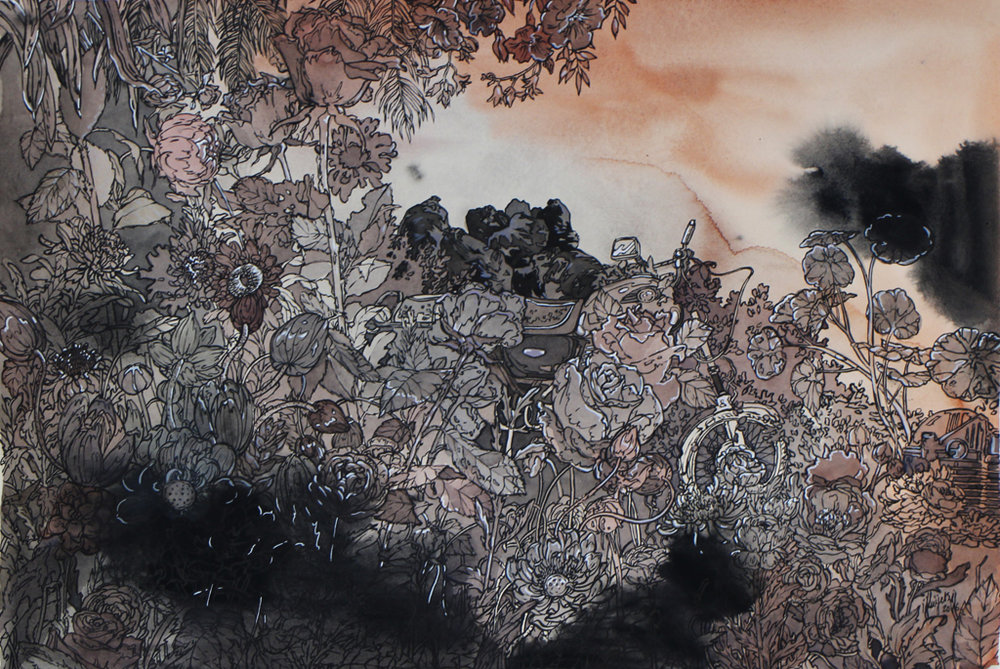 Isabella Kuijers  Overgrown II (Fukushima)  Mixed media on paper