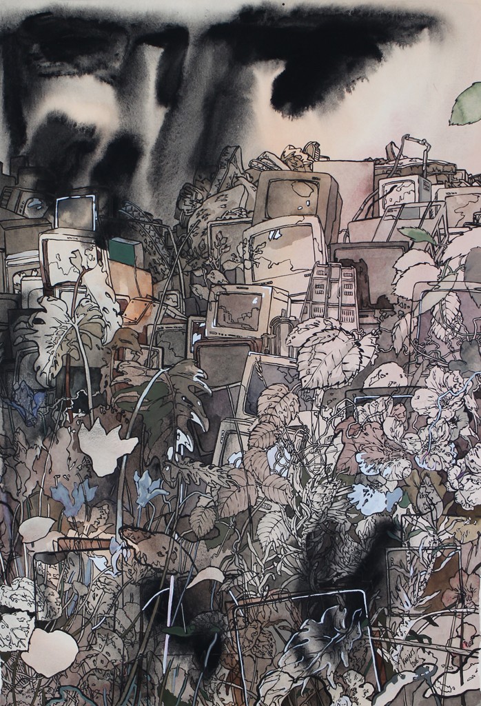 Isabella Kuijers  Overgrown I (Fukushima)  Mixed media on paper