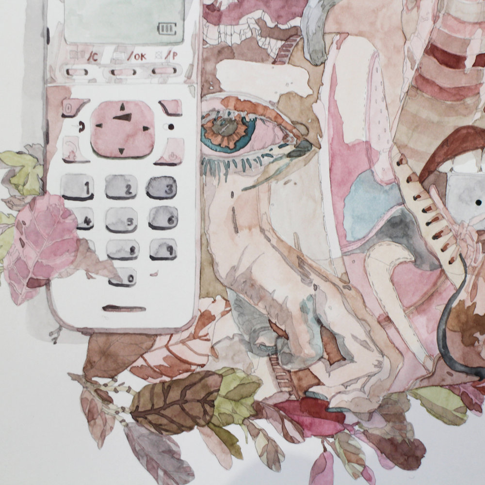 Isabella Kuijers  For the few nights they slept in the same bed, they shared nightmares about Snake bite venom, phone anxiety and white Nikes. (detail)  Mixed media on paper