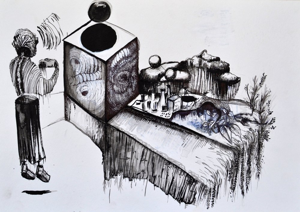 Caitlin Mkhasibe  Nuclear Power Problems  Ink on paper  42 x 29.7 cm