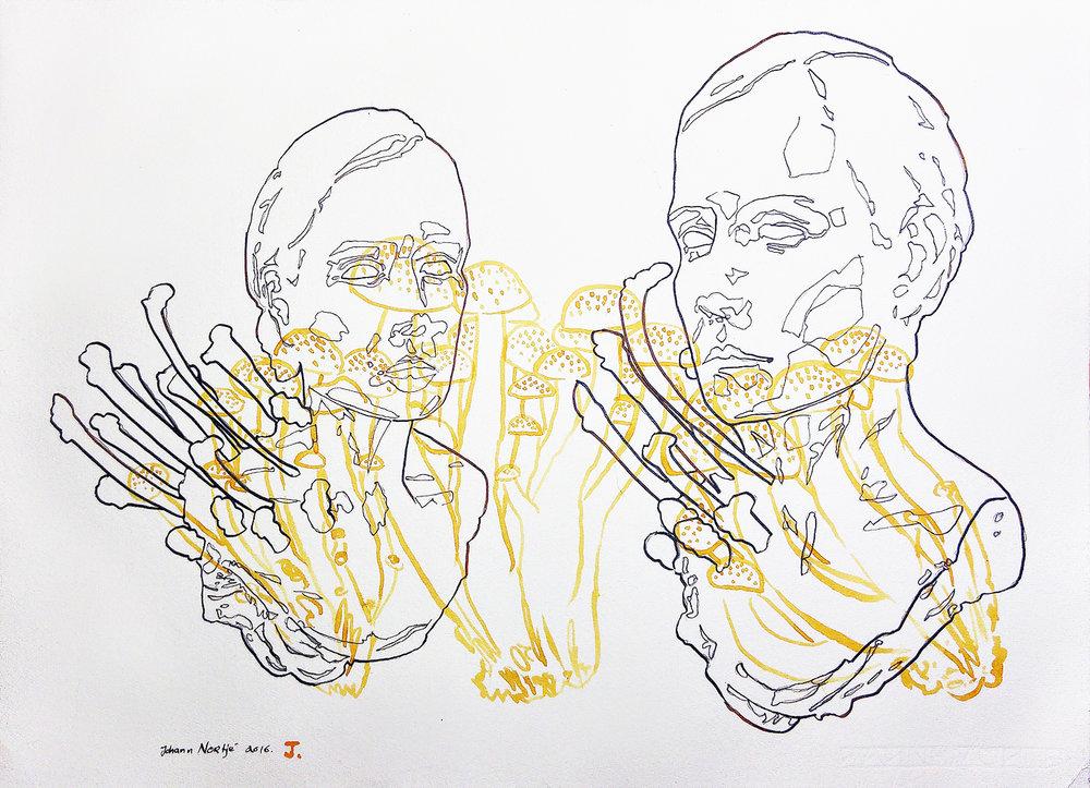 Johann Nortje  J  Acrylic ink on Hahnemühle  39 x 54 cm