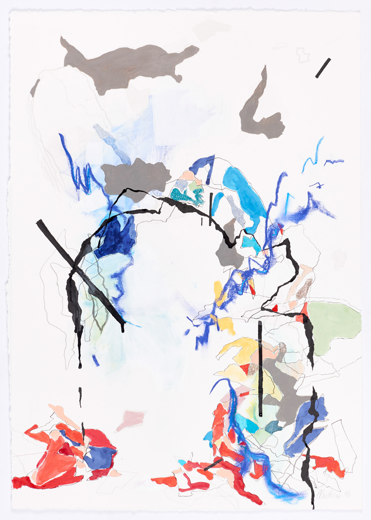 Bev Butkow  'Does the discomfort show yet? III'  Nailpolish, Indian ink and conte on Fabriano  69.5 x 42 cm
