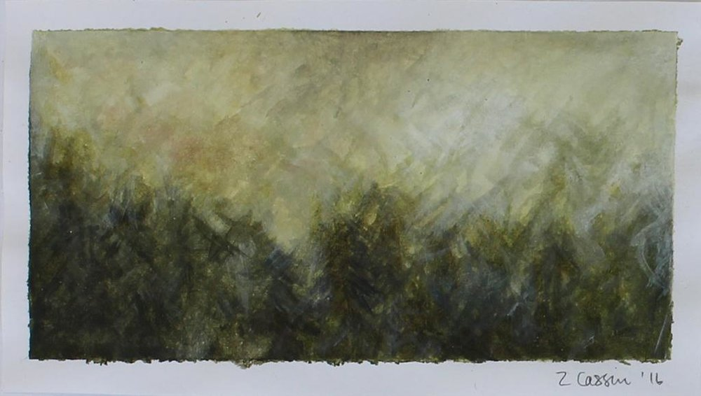 Zarah Cassim  'Impression (forest) I'  Acrylic on paper  5 x 10 cm