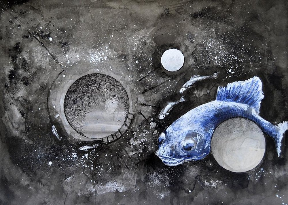 Caitlin Mkhasibe  'Floating Space Fish/God'  Permanent marker, ink & acrylic on watercolour paper  29.7 x 42 cm