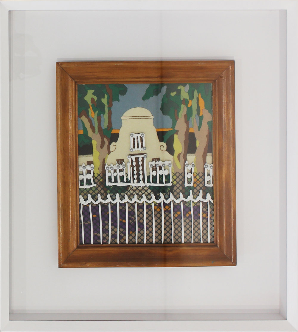 """Alice Toich  """"SAFE""""  Acrylic on found object  38 x 34 cm"""