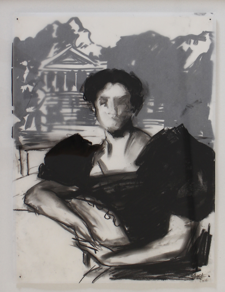 Alice Toich  Sitting pretty while the world crumbles  Charcoal on paper & ink on drafting film  40 x 29 cm