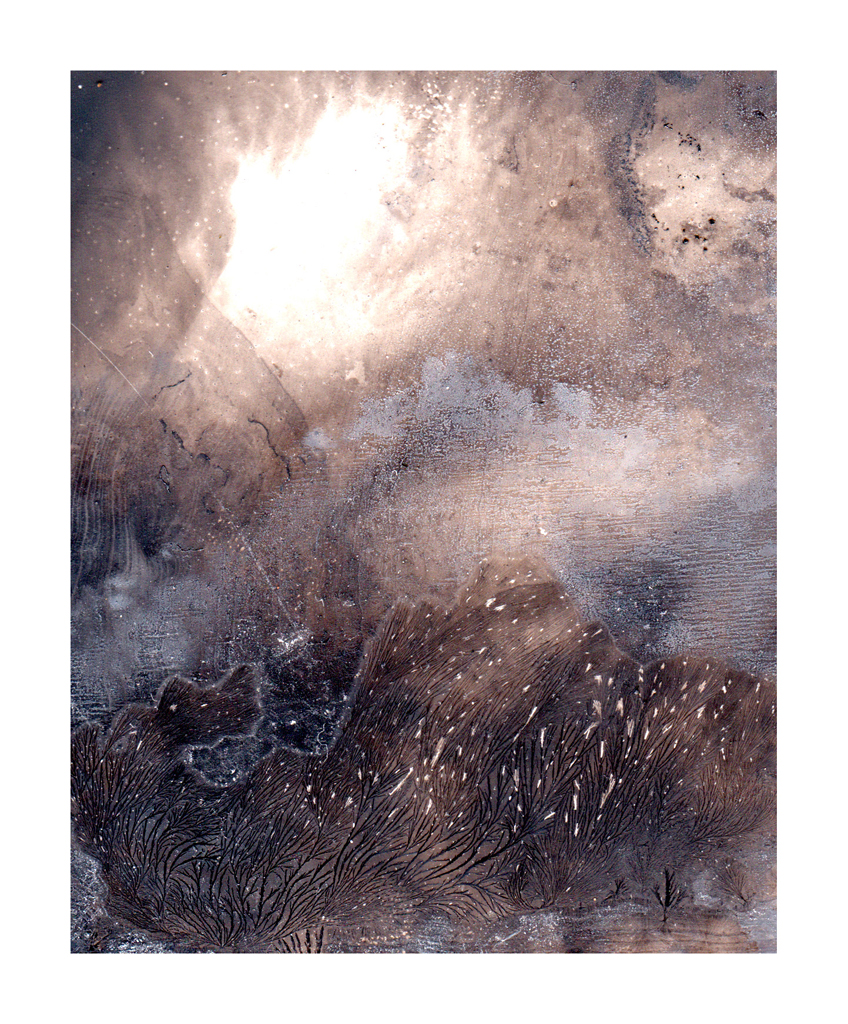 Mariëtte Kotzé  'Imaginary Landscape 5'  Mixed media of ink wash movement, digitally captured & printed on Hahnemühle Museum Etching  29 x 24 cm