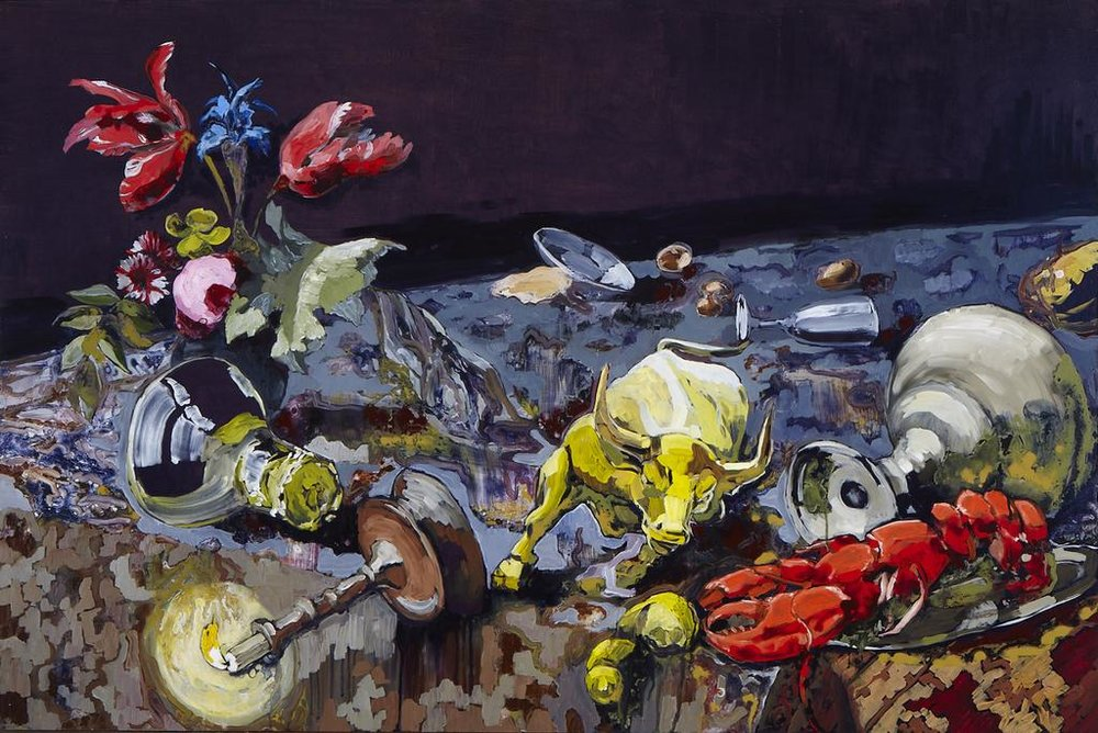 Lizza Littlewort  'Still Life with Minotaur'  Mixed media on board  80 x 120 cm