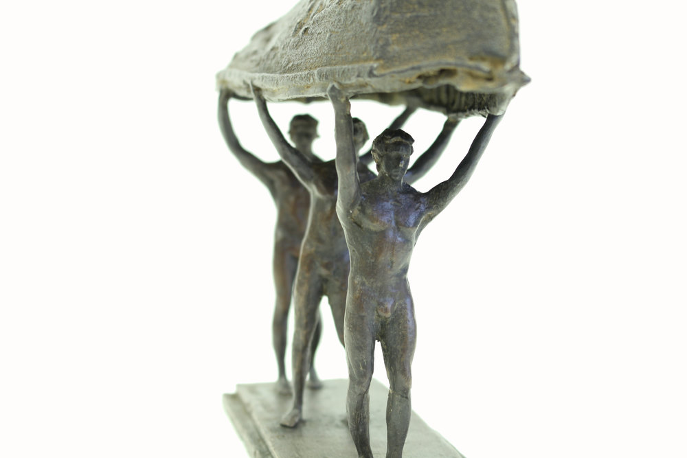 Adriaan Diedericks  'Burdened Man (maquette) I'  Bronze  Edition 01/12  18 x 8.5 x 30 cm