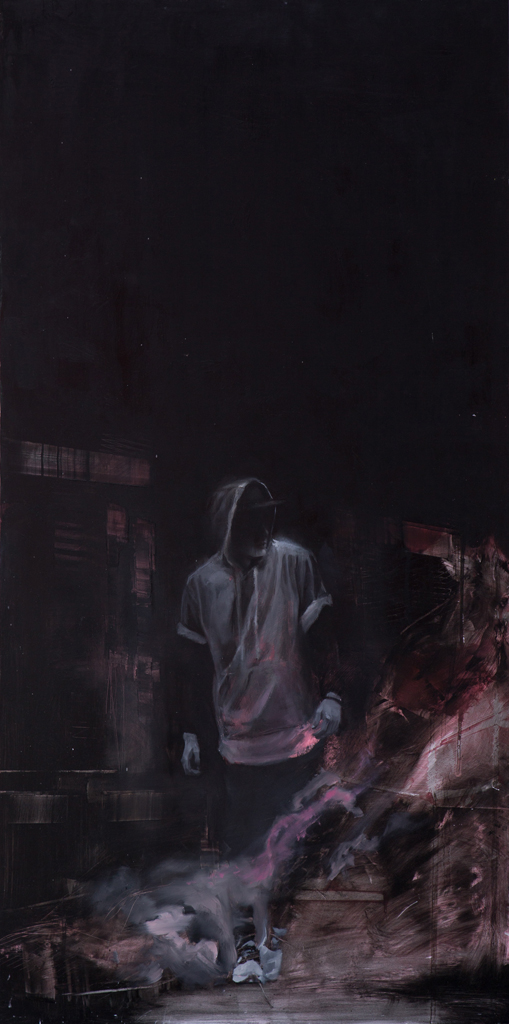 Chris Valentine  'Last Watch'  Oil on panel   122 x 61.5 cm