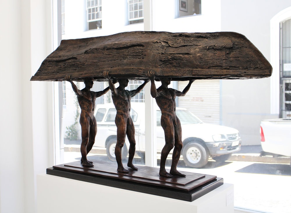 Adriaan Diedericks  'Burdened Man'  Bronze  Edition 01/03  68 x 116 x 40 cm