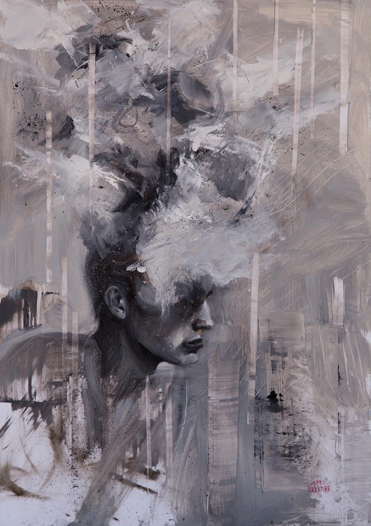 Chris Valentine  '3XPLOD3 V'  Oil on panel  57 x 40 cm