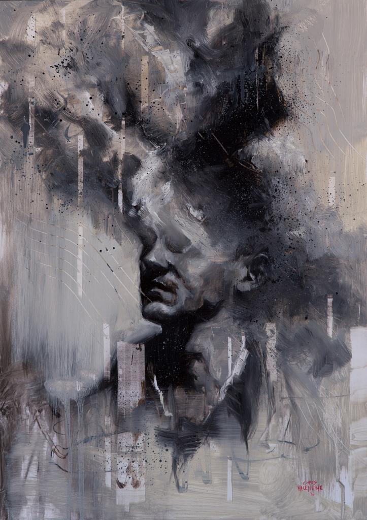 Chris Valentine  '3XPLOD3 II'  Oil on panel  57 x 40 cm