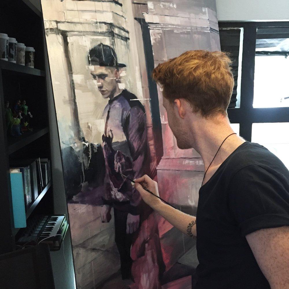 Chris Valentine in studio.