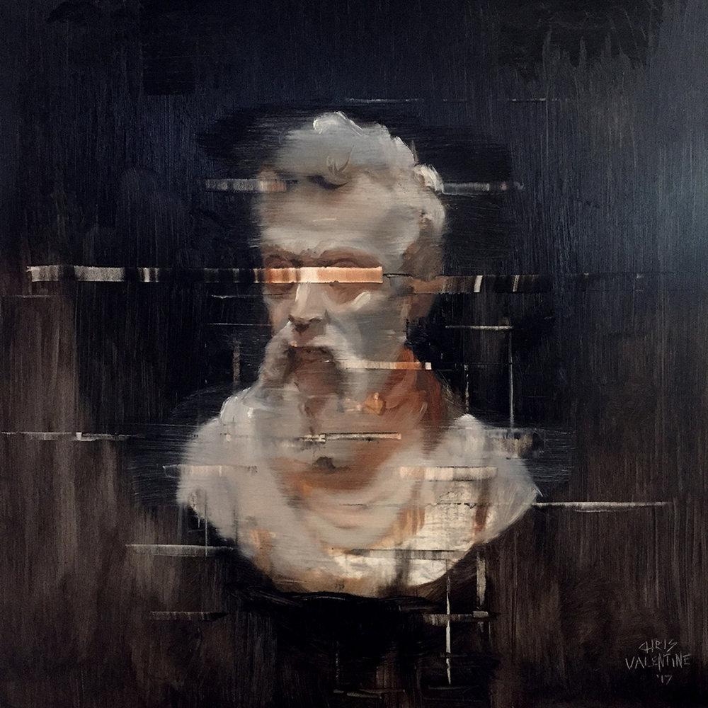 Chris Valentine  Glitch  Oil on panel  40 x 40 cm