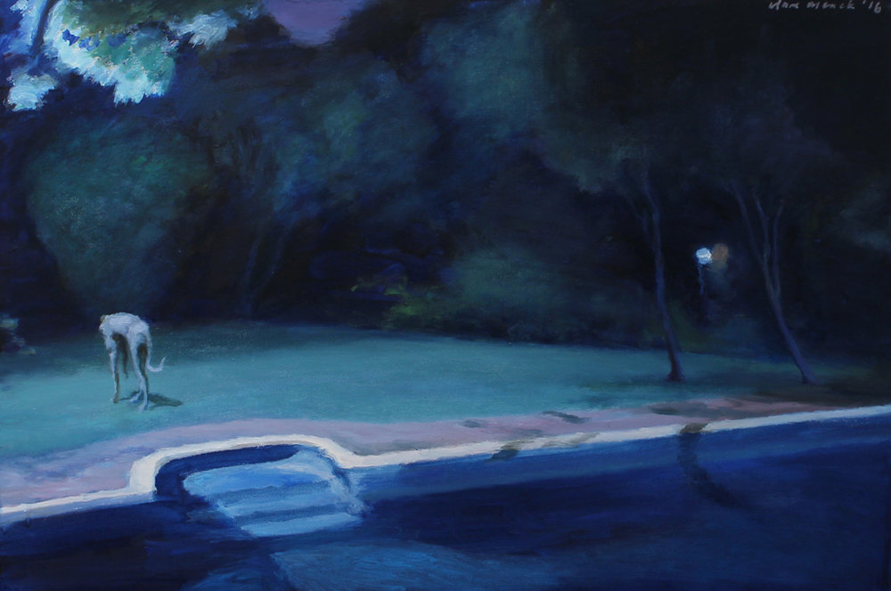 Clare Menck  Hound in Moonlight, Turning Away  Oil on canvas
