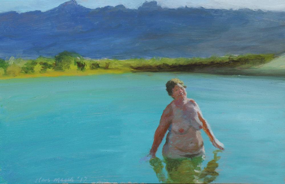 Clare Menck  Contentment is a Subtle Sensation  Oil on aluminium  20 x 30 cm