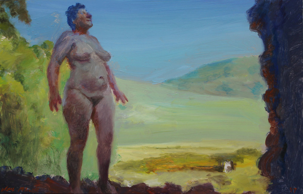 Clare Menck  Triumphant Nude Standing Strong  Oil on aluminium  20 x 30 cm