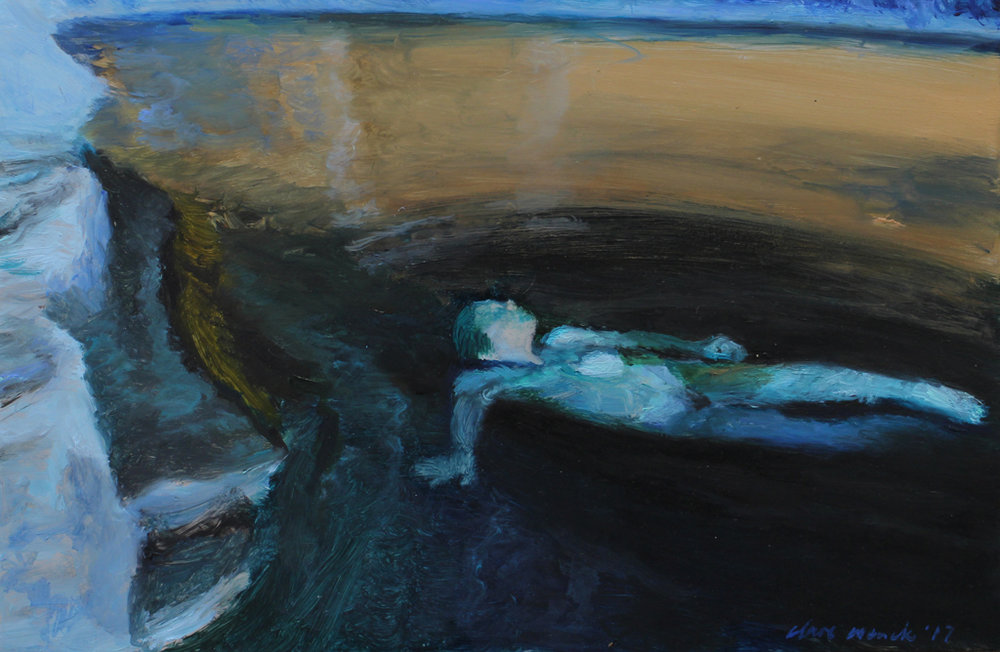 Clare Menck  Immersed in a Night Pool  Oil on aluminium  20 x 30 cm