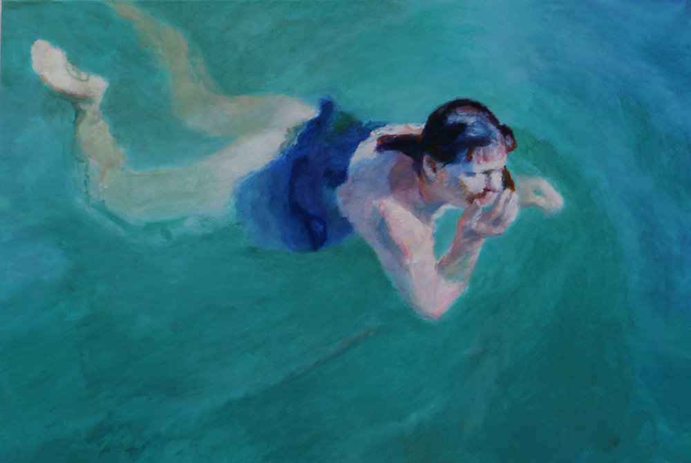 Clare Menck  Floating Nude, Hiding Behind Her Hand  Oil on canvas  40 x 60 cm