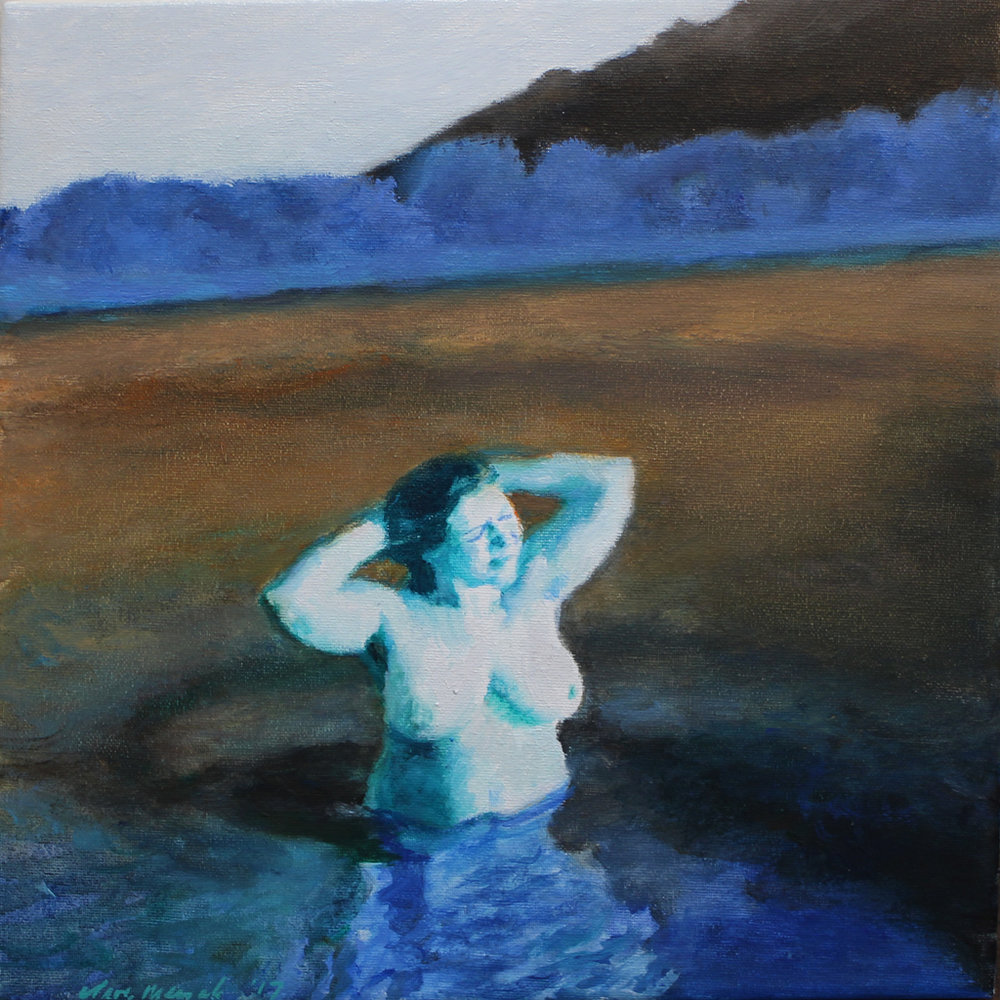 Clare Menck  Moonlight Preener in Blue  Oil on canvas  30 x 30 cm