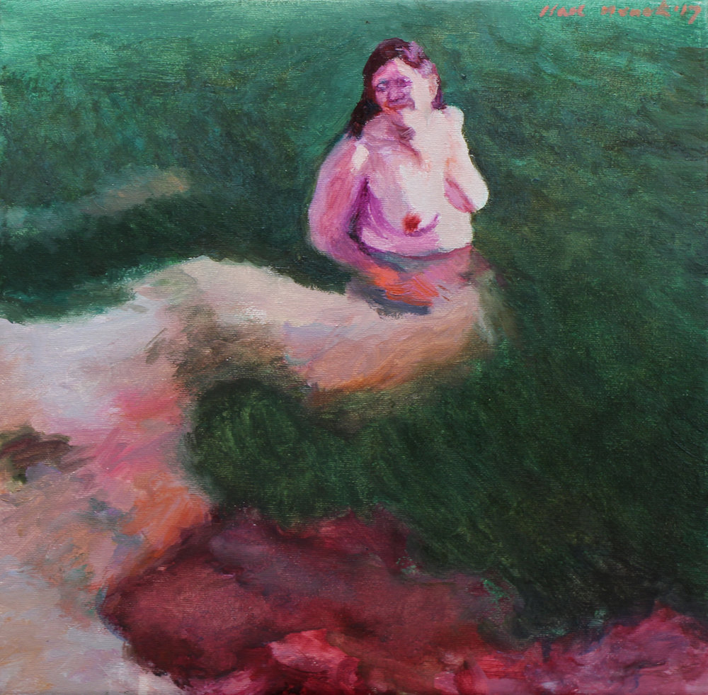 Clare Menck  Study in Blood & Green  Oil on canvas  30 x 30 cm
