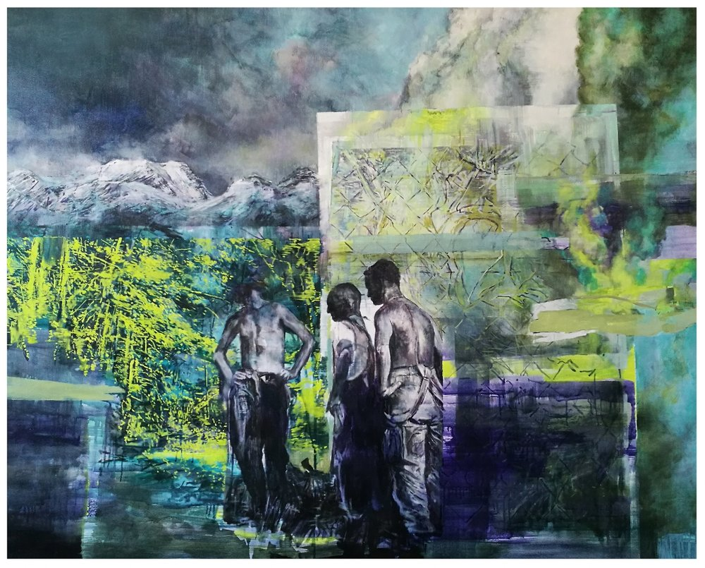 Karen Cronje  Diffusion of responsibility  Oil on canvas  110 x 138 cm