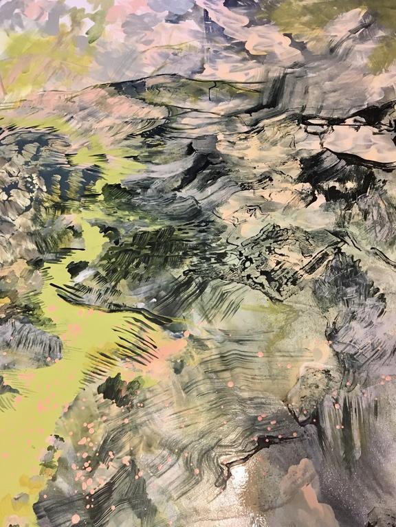 Anastasia Pather  'Sunday Walk with Tim'  Acrylic, ink & cold glue on canvas  75 x 60 cm