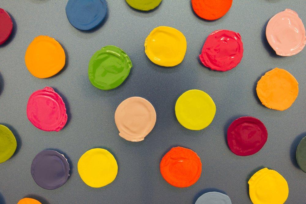 Richard Mason  It depends on you (detail)  Found bottle tops & enamel on aluminium  100 x 100 cm