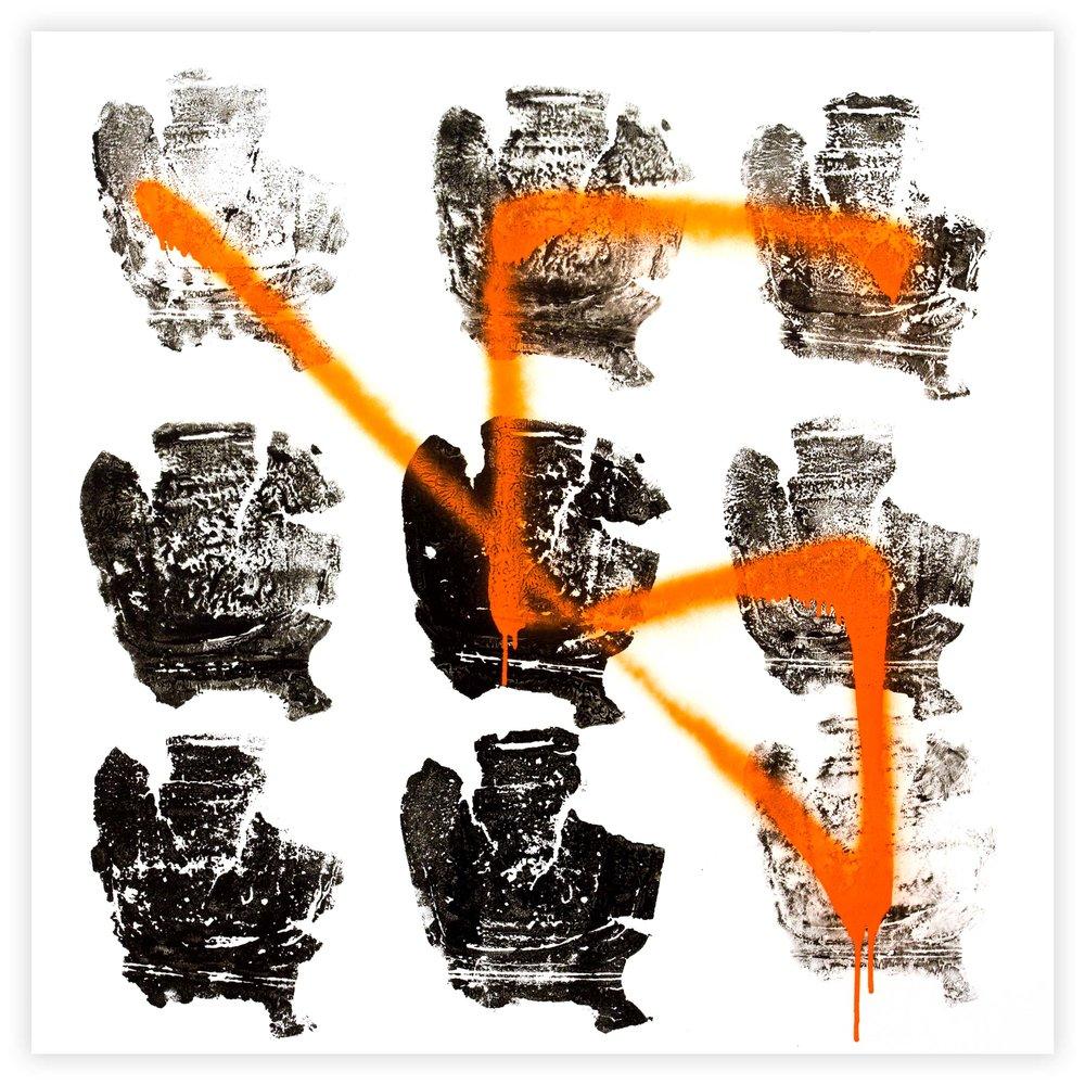 Richard Mason  If Only  Enamel mono-print & spray paint on aluminum  75 x 75 cm