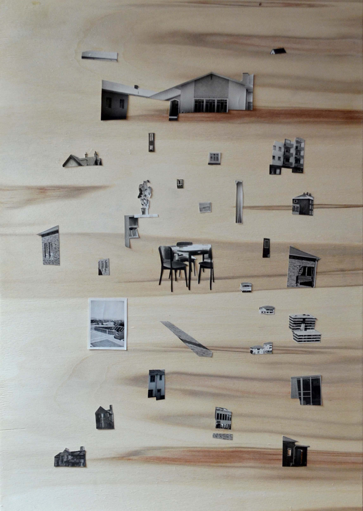 Sitaara Stodel  Disperse  Found photographs on plywood  60 x 42 cm