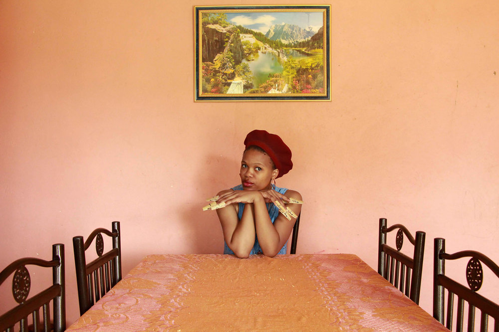 Thandiwe Msebenzi  'uMakazi-Ndi mamele'  Photographic print on German etching archival paper  Ed 01/05  59.4 x 39.6 cm