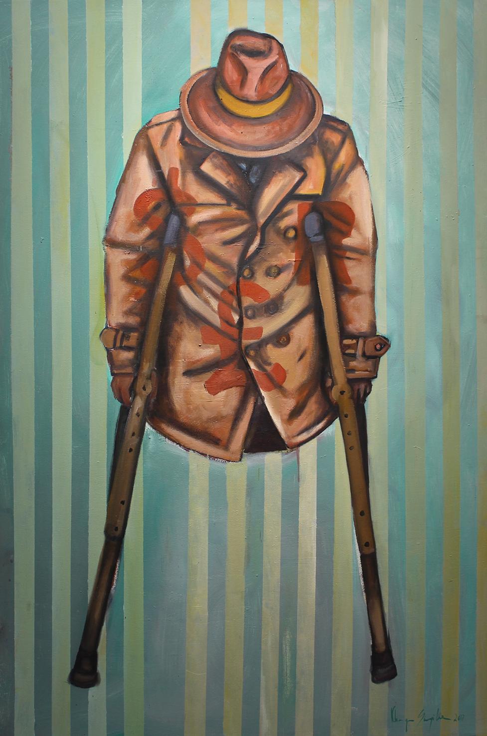 Khaya Sineyile  Crippled Economy, 2017  Oil on canvas  150 x 100 cm