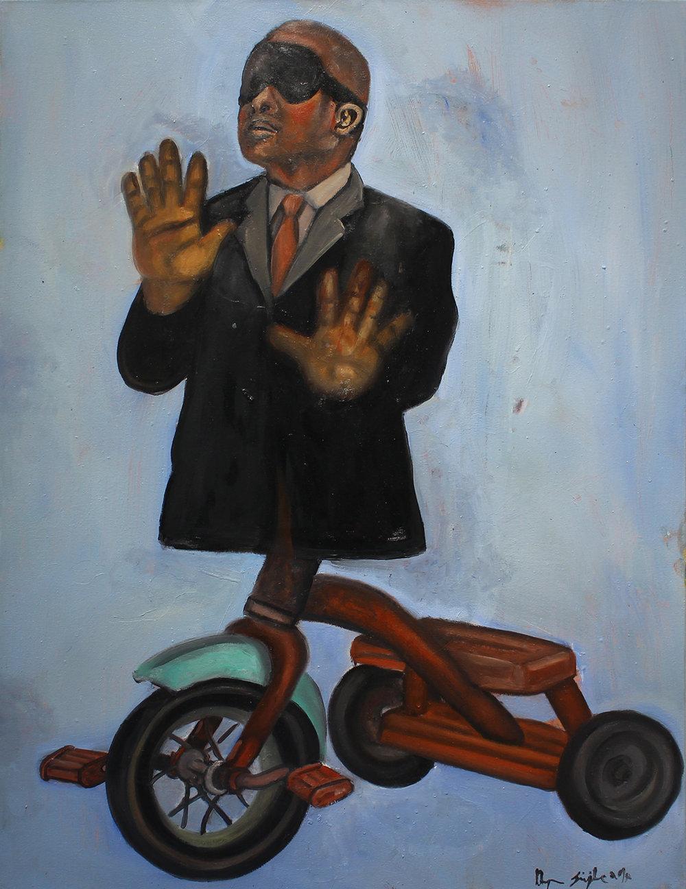 Khaya Sineyile  Turning a Blind Eye, 2017  Oil on canvas  100 x 75 cm