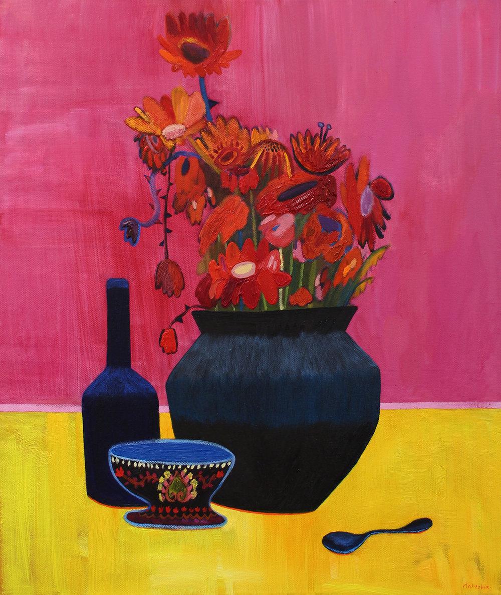Nabeeha Mohamed  Fever Blooms  Oil on canvas  61 x 51 cm