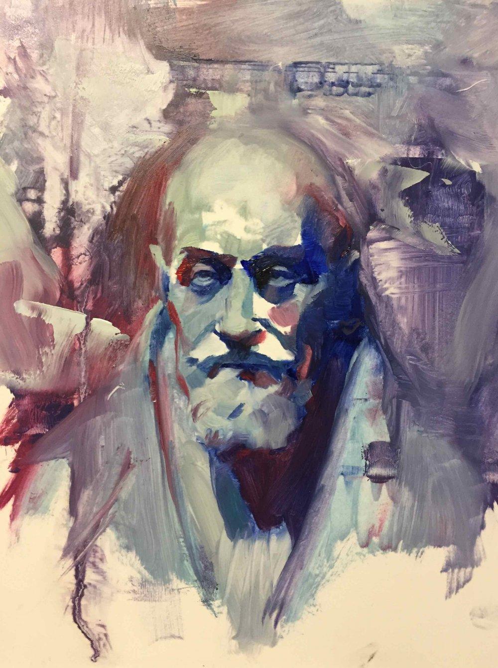 Chris Valentine  'Glitch III'  Oil on panel  25 x 20 cm