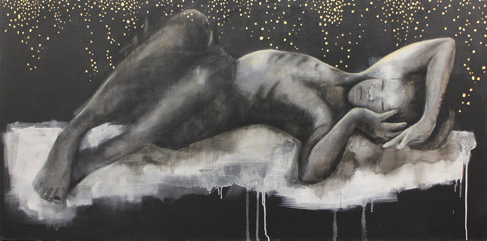 Heike Allerton-Davies  I Watch You Sleep I  Ink, acrylic &gold leaf  85 x 175 cm