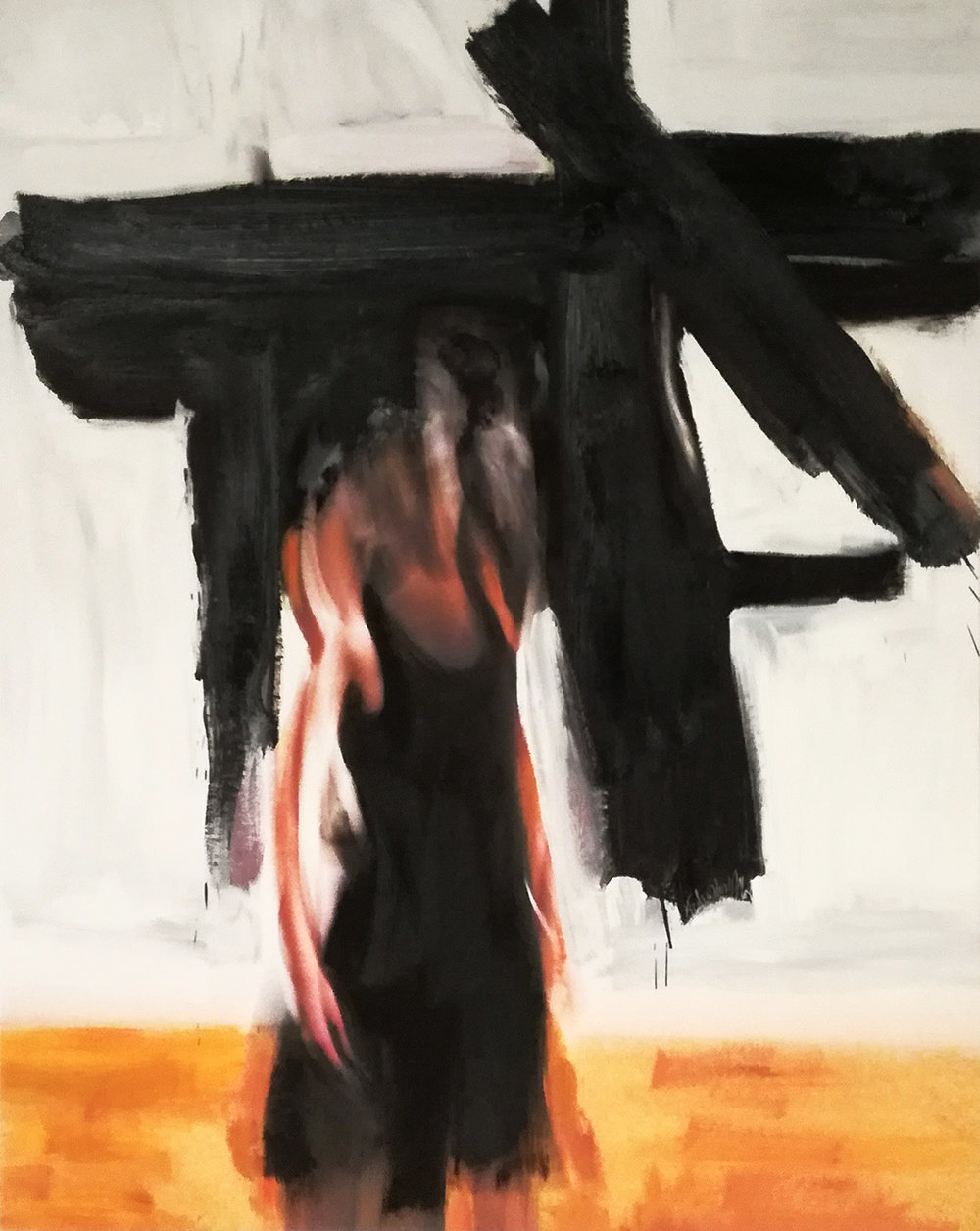 Andrew Hart Adler  Ode to Franz Kline  Mixed media on digital print  97 x 77 cm