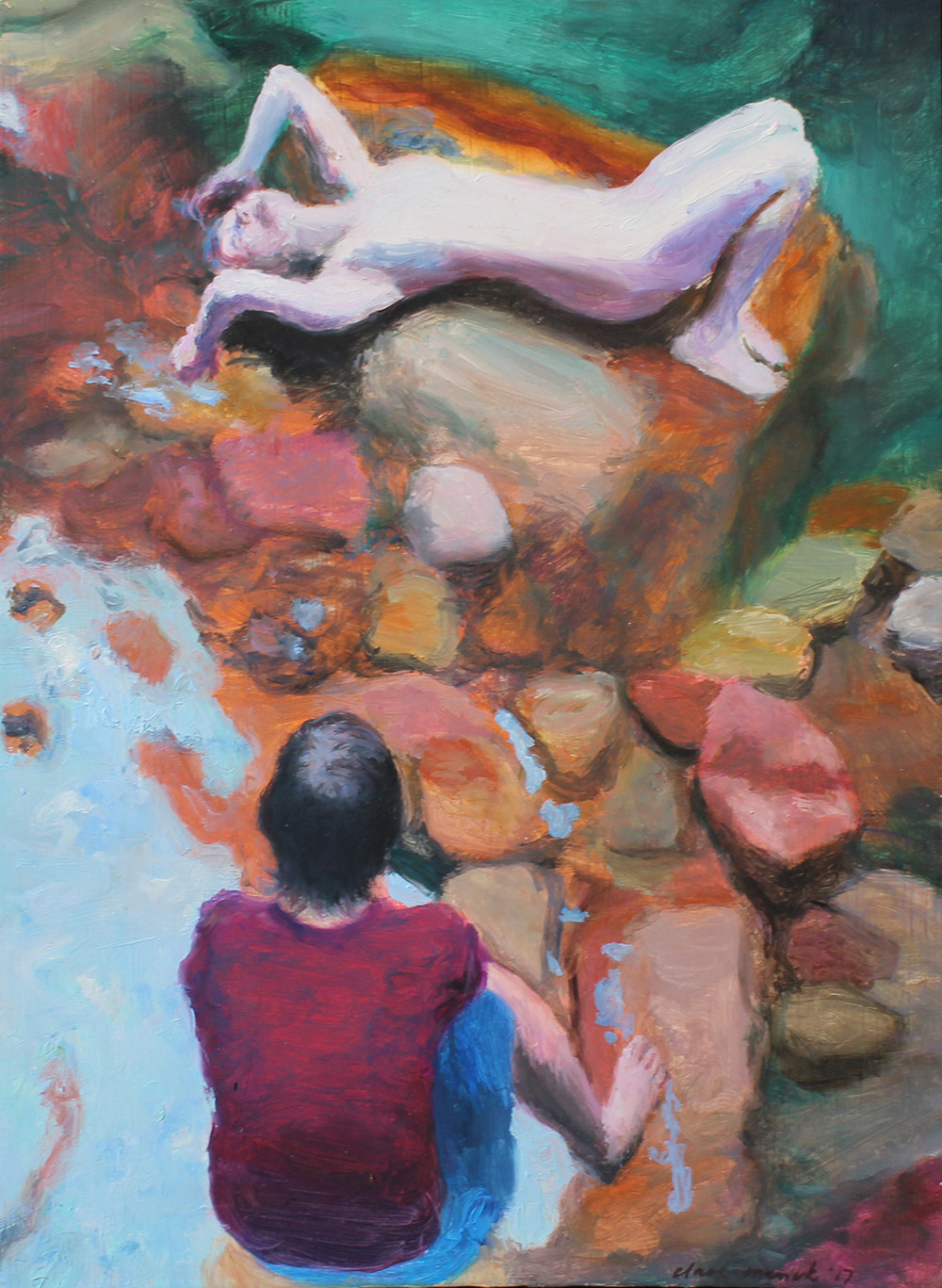 Clare Menck  Lovers locked in an exchange of gaze & play  Oil on aluminium  30.5 x 22 cm