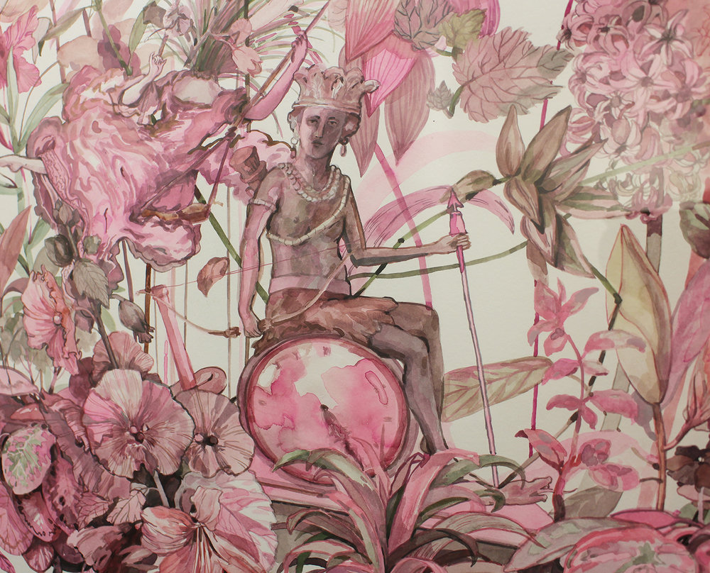 Isabella Kuijers  Pink Palace (detail)  Mixed media on paper  89 x 62.5 cm