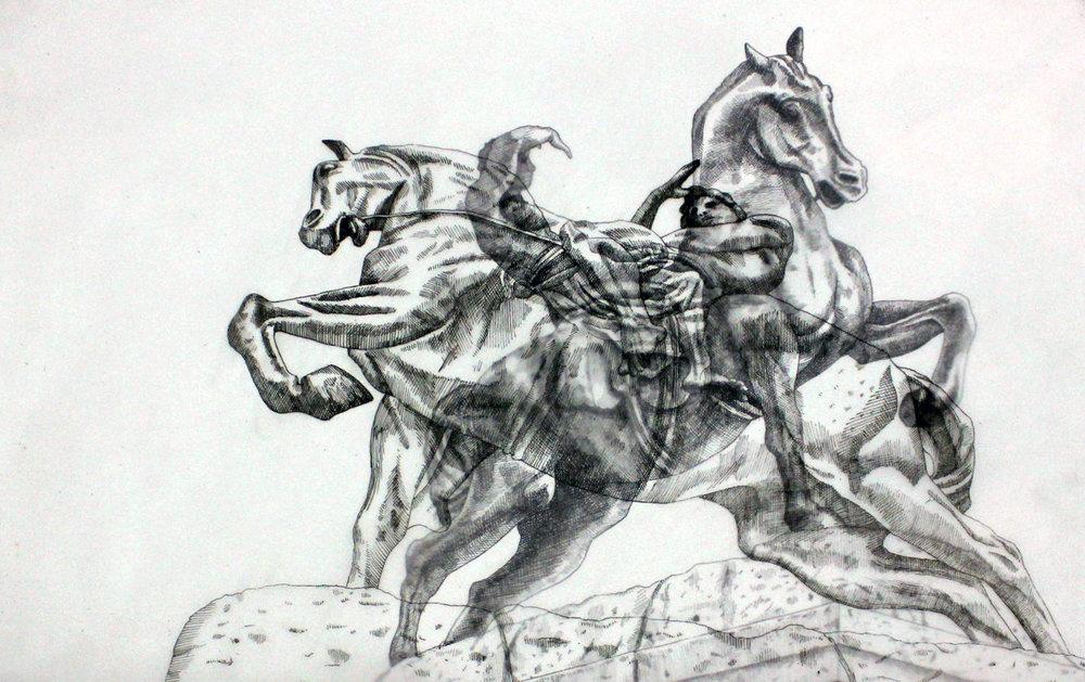 Adele van Heerden  Physical Energy 2  Layered ink on butcher paper & Fabriano  29.7 x 42 cm